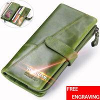 Men/Women Genuine Leather Long Wallet Bifold Card Holder Checkbook Clutch Purse