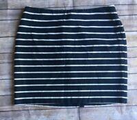 Banana Republic Women's Pencil Skirt Size 12 Blue White Stripe Mini Cotton