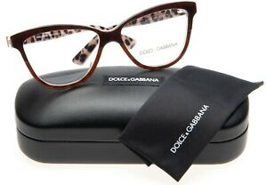 NEW D&G Dolce&Gabbana DG 3229 2881 OPAL BROWN ON LEO EYEGLASSES 52-14-140 Italy