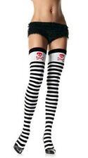 LEG avenue-opaque Stripe pirate cuisse haut-Noir / Blanc-Taille unique NEUF