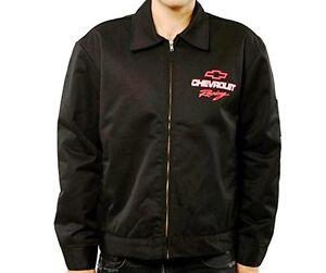 Men's Chevy Racing Mechanics Chevrolet Black Polyester Zip Jacket CHV313MC11BLK