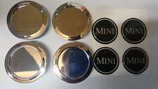CLASSIC MINI BLACK 'MINI' CHROME WHEEL CENTRE CAPS ROVER MINILITE COOPER 2GM4