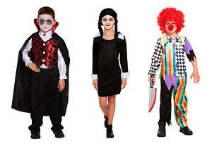 Kids Halloween Fancy Dress Costume Scary Clown Wednesday Adams Deluxe Vampire