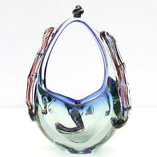 Vintage Art Glass Blue Basket