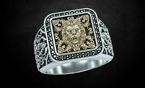 925 Sterling Silver Patterns & Lion Oxidized Yellow Gold FN Stylish Men's Ring