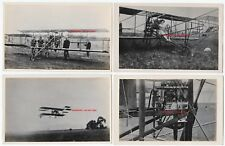 RARE RPPC Set of 4 - Glenn Curtiss Biplane - Eugene Ely & Wife? Real Photos 1910
