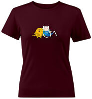 Finn Jake Napping Sleeping Cartoon Shirts Juniors Women Teen Tee T-Shirt Gift
