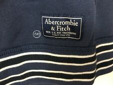 NWT Abercrombie & Fitch Men's Tipped Full-Zip Logo Tag Hoodie Navy Blue Size M