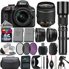 Nikon D3400 DSLR Camera + Nikon 18-55mm VR Lens + 500mm Telephoto Lens -32GB Kit