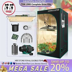 Mars Hydro TSW 2000W LED Grow Light+Carbon Filter+4'x4' Grow Tent Complete Kit