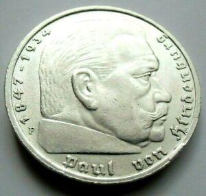 (533) ANTIQUE WWII   German 3rd Reich  1936 F   5 Reichsmark Silver Coin