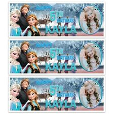 X 2 PERSONALISED FROZEN 2 MOVIE BIRTHDAY PHOTO BANNER DECORATION 7TH ANY AGE