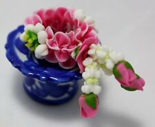 Miniature Delicate Sculpture Work Pink Garland Tray Handcrafted Collectible Toy
