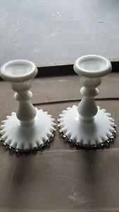 Vintage Pair Fenton Silver Crest Candle Sticks Holders