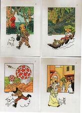 Lot de 4 cartes Tintin : Etoile / Oreille / Crabe / Rackham. Tirage limité