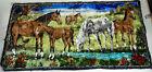 Antique Vtg Horse Tapestry Lake Tree Flowers Syrian Import Made in Lebanon 20x38