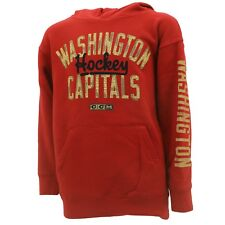 Washington Capitals Youth Distressed Hooded Sweatshirt Reebok Official NHL New