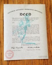 Authentic 1959 Deed to The Gettysburg Battlefield - Historic - READ
