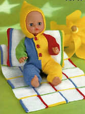 "#65 DK Doll Prem Girl Boy H12-22"" All-in-One, Blanket & Pillow Knitting Pattern"