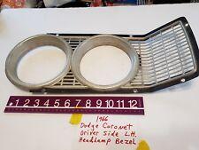 1966 Dodge Coronet LH Drivers Side Headlight Door Bezel