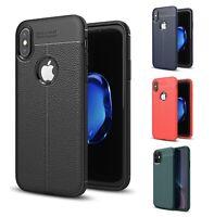 Schutzhülle Silikon iPhone X XR XS MAX 11 TPU Case Cover Leder Muster Handyetui