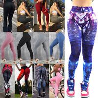 Womens Yoga Pants Fitness Leggings Running Gym Stretch Sports High Waist Trouser
