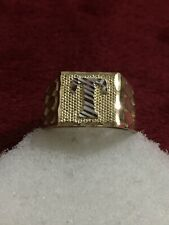 """10kt Yellow Gold Initial """" T """" Ring Mens Size 9"""