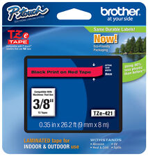 "Brother 3/8"" (9mm) Black on Red P-touch Tape for PT1090, PT-1090 Label Maker"