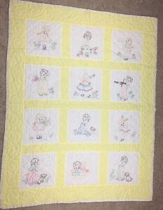 "Vintage Quilt Handmade Hand Stitched Embroidered Children Playing Scenes 48x37"""