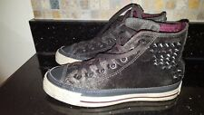 CONVERSE VELVET STUDDED SIZE UK 4 DARK GREY TRAINERS