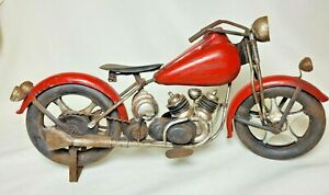 Rare Metal Motorcycle, 12 1/2 Inches Long, Very Detailed, Indian, Harley, A+A+