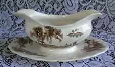 Vintage Johnson Bros. THE OLD MILL Gravy Sauce Boat with Underplate