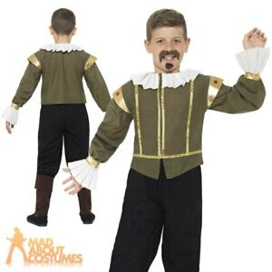 Kids Boys Shakespeare Costume Historical Poet Book Day Week Fancy Dress Outfit