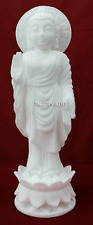 "13"" White Marble Buddha Statue Buddhism Religeous Hand Carving Decor Gift H2239"