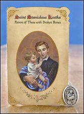 St Stanislaus Kostka (Broken Bones) Healing Holy Card with Medal (MC016)