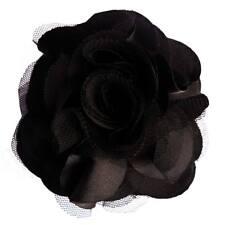 Pince à cheveux bibi broche fleur satin tulle noir cérémonie soirée mariage