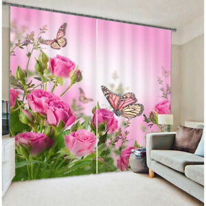 Red Flower Green Leaf Butterfly Blackout Curtain for Bedroom 3D Window Curtains