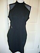 MISS SELFRIDGE BLACK RIBBED & MESH STRETCH BODY CON DRESS UK 14 SUPERB CONDITION
