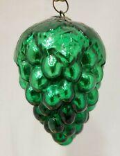 """1880's Vintage Antique 4"""" Leafed Grape Cluster Green Mercury Glass Kugel"""