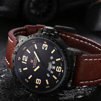 Herren Militäruhr Quarzuhr mit Lederband Armbanduhr Schwarz Analog Wasserdicht!~