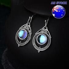 925 Silver Plated Vintage Moonstone Tear Drop Dangly Hook Bohemia Earrings