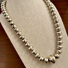 Graduated Bench Bead Necklace Native American Navajo Sterling Silver