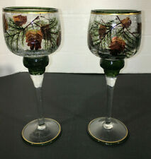 HTF  LOT OF 2 Yankee Candle Pinecone PINETREE Crackle Stem Glass Holder GOLD RIM