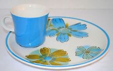 2 Snack Sets J Roberts Esperanto Blue Floral Tea Coffee Cups & Plates Dishes 70s