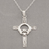 "CELTIC CROSS Necklace Irish Charm Pendant Claddagh STERLING SILVER 18"" chain 925"