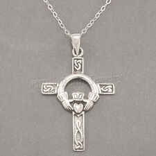 CELTIC CLADDAGH CROSS Irish Heart LOVE 925 Pendant STERLING SILVER .925 Necklace