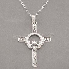 CELTIC CLADDAGH CROSS Irish Heart LOVE 925 Pendant STERLING SILVER .925 Necklace