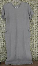 Flax Jeanne Englehart Dress Women's Small Teal Woven Linen Lagenlook Side Pocket