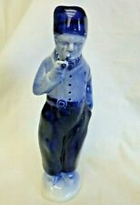 "Blue Delft FIgurine Man Smoking Pipe 8"" Tall  #2022 Marked Porcelain RARE & EUC"