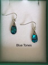 Abalone Paua Shell Tear Pear Drop Earrings Silver Fashion Womens Girls Jewellery